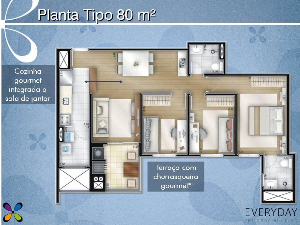 Planta Tipo 80 m² Cozinha gourmet integrada a sala de jantar Terraço com churrasqueira gourmet*