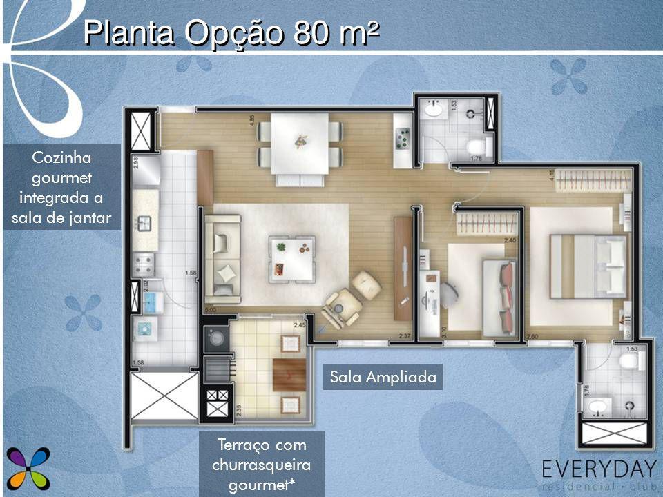 Planta Opção 80 m² Sala Ampliada Cozinha gourmet integrada a sala de jantar Terraço com churrasqueira gourmet*