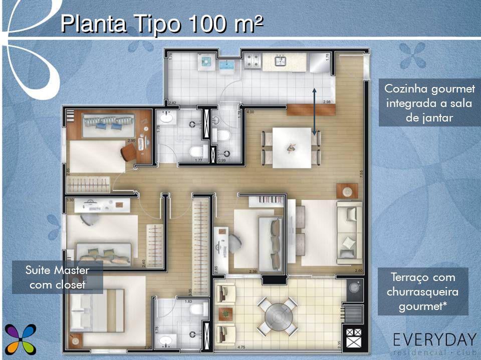 Planta Tipo 100 m² Cozinha gourmet integrada a sala de jantar Terraço com churrasqueira gourmet* Suite Master com closet