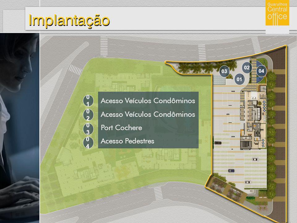 Implantação Acesso Veículos Condôminos Port Cochere Acesso Pedestres 0404 0303 0202 0101 04 03 02 01