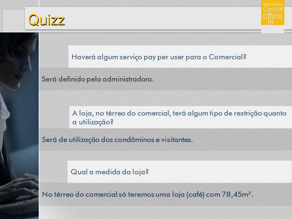 Quizz Haverá algum serviço pay per user para o Comercial? Será definido pela administradora. A loja, no térreo do comercial, terá algum tipo de restri