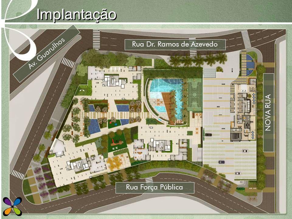 Implantação Rua Força Pública Rua Dr. Ramos de Azevedo Av. Guarulhos NOVA RUA