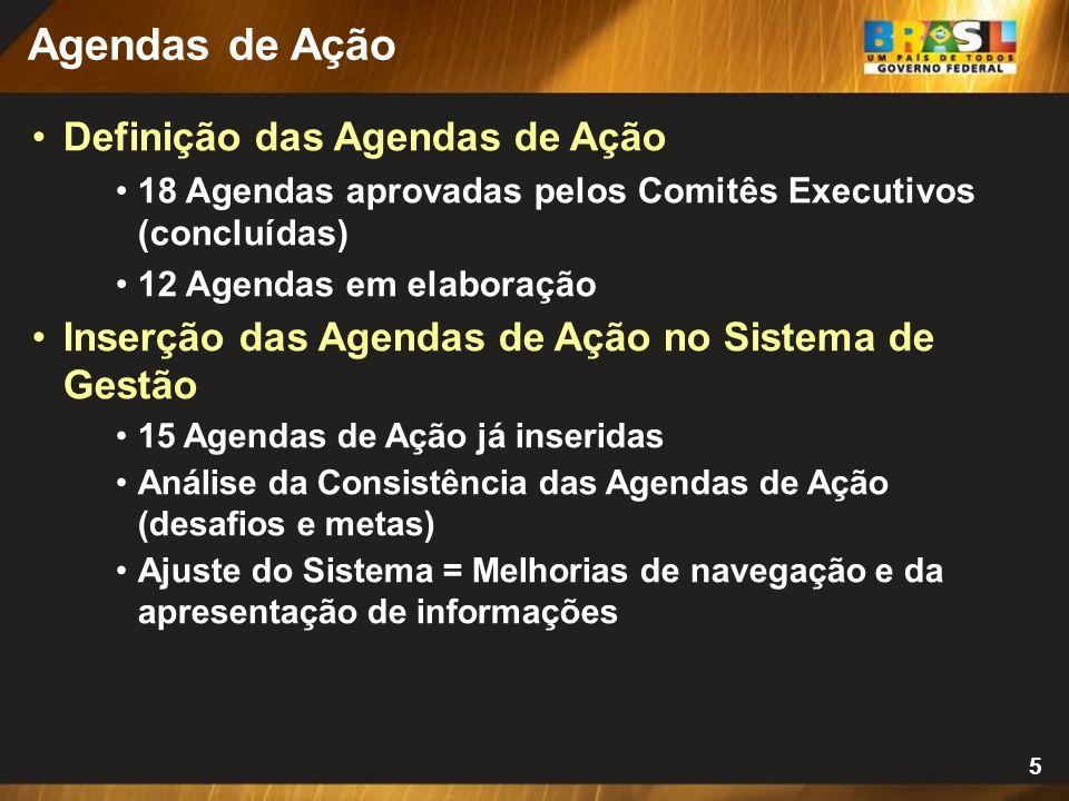 5 Definição das Agendas de Ação 18 Agendas aprovadas pelos Comitês Executivos (concluídas) 12 Agendas em elaboração Inserção das Agendas de Ação no Sistema de Gestão 15 Agendas de Ação já inseridas Análise da Consistência das Agendas de Ação (desafios e metas) Ajuste do Sistema = Melhorias de navegação e da apresentação de informações Agendas de Ação