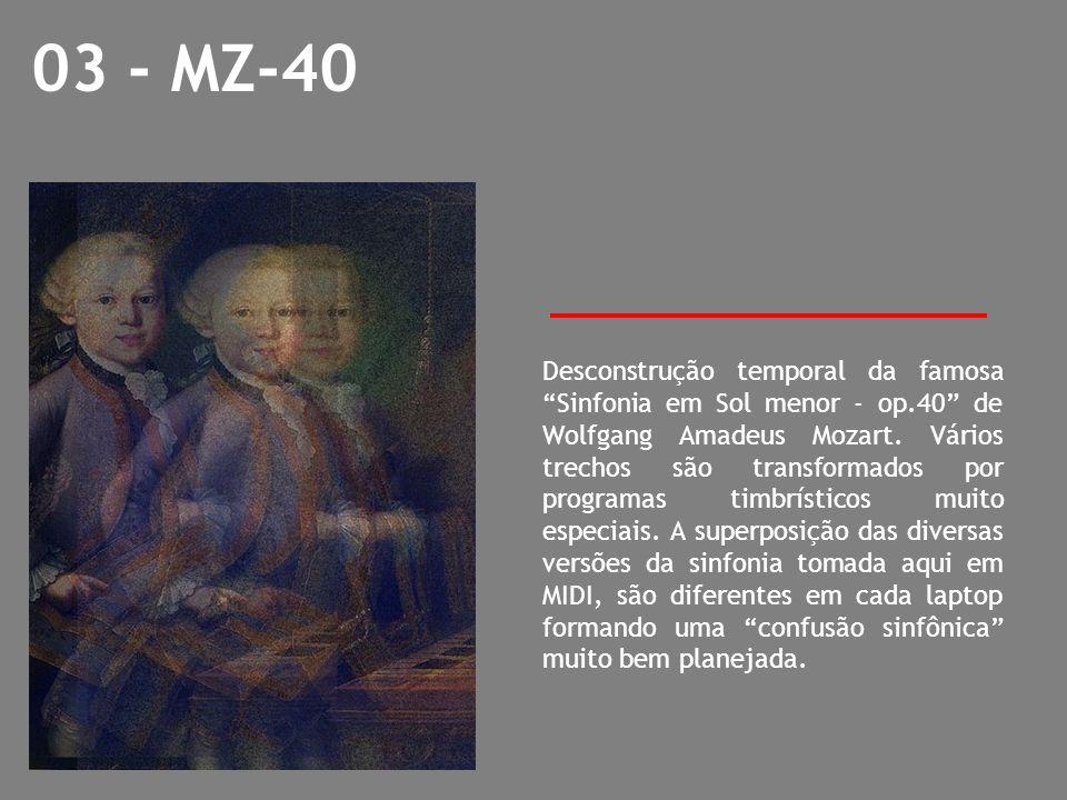 03 - MZ-40 Desconstrução temporal da famosa Sinfonia em Sol menor - op.40 de Wolfgang Amadeus Mozart. Vários trechos são transformados por programas t