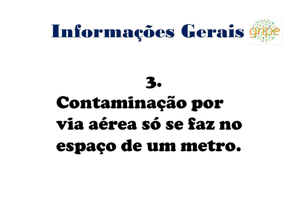 Informações Gerais 3. Contaminação por via aérea só se faz no espaço de um metro.