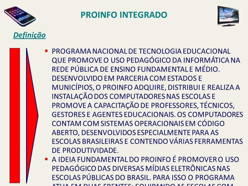 PROINFO INTEGRADO Definição PROGRAMA NACIONAL DE TECNOLOGIA EDUCACIONAL QUE PROMOVE O USO PEDAGÓGICO DA INFORMÁTICA NA REDE PÚBLICA DE ENSINO FUNDAMEN