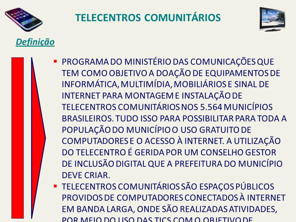 TELECENTROS COMUNITÁRIOS Definição PROGRAMA DO MINISTÉRIO DAS COMUNICAÇÕES QUE TEM COMO OBJETIVO A DOAÇÃO DE EQUIPAMENTOS DE INFORMÁTICA, MULTIMÍDIA,