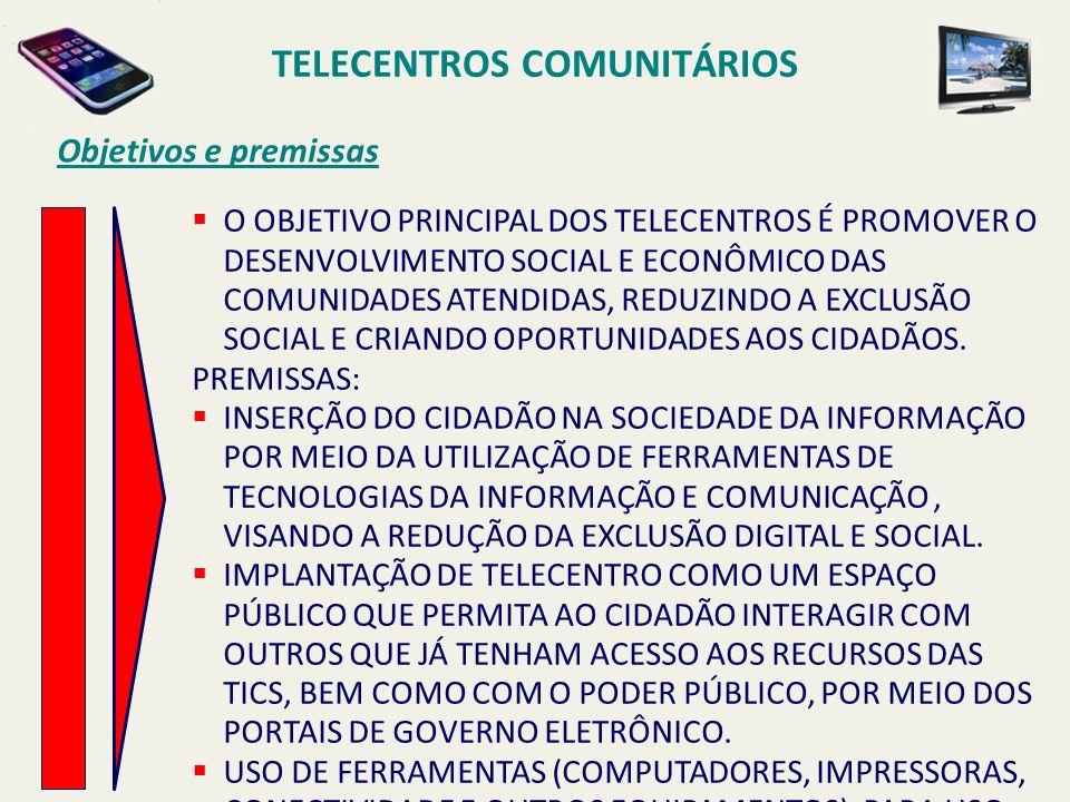 TELECENTROS COMUNITÁRIOS Objetivos e premissas O OBJETIVO PRINCIPAL DOS TELECENTROS É PROMOVER O DESENVOLVIMENTO SOCIAL E ECONÔMICO DAS COMUNIDADES AT