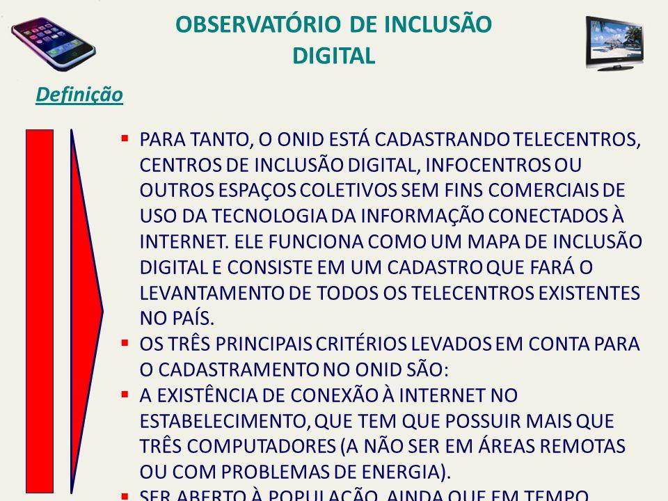 OBSERVATÓRIO DE INCLUSÃO DIGITAL Definição PARA TANTO, O ONID ESTÁ CADASTRANDO TELECENTROS, CENTROS DE INCLUSÃO DIGITAL, INFOCENTROS OU OUTROS ESPAÇOS