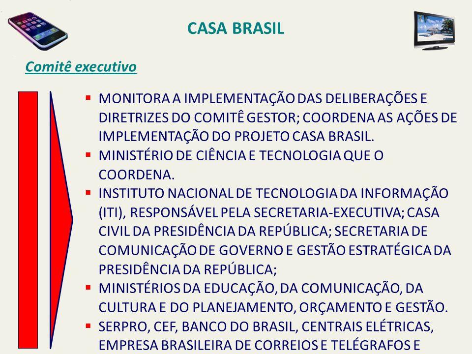 CASA BRASIL Comitê executivo MONITORA A IMPLEMENTAÇÃO DAS DELIBERAÇÕES E DIRETRIZES DO COMITÊ GESTOR; COORDENA AS AÇÕES DE IMPLEMENTAÇÃO DO PROJETO CA