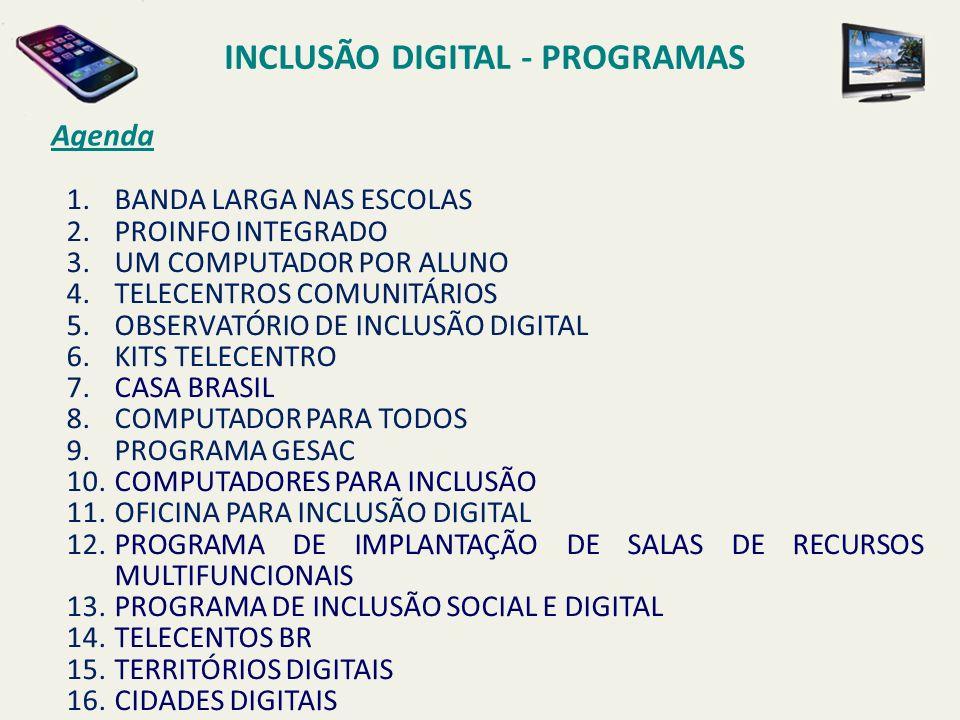 1.BANDA LARGA NAS ESCOLAS 2.PROINFO INTEGRADO 3.UM COMPUTADOR POR ALUNO 4.TELECENTROS COMUNITÁRIOS 5.OBSERVATÓRIO DE INCLUSÃO DIGITAL 6.KITS TELECENTR