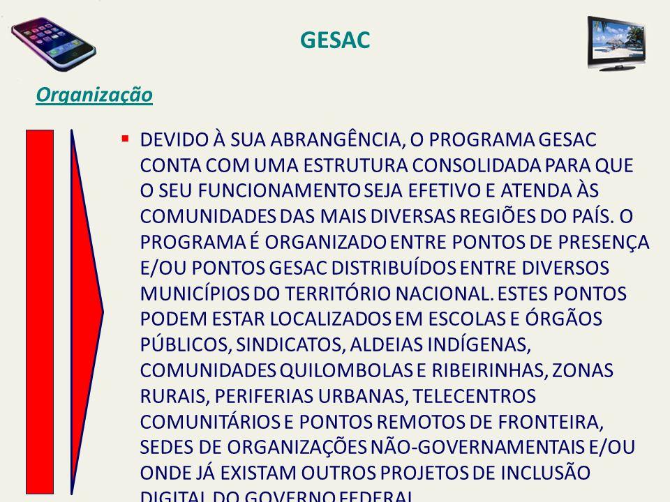 GESAC Organização DEVIDO À SUA ABRANGÊNCIA, O PROGRAMA GESAC CONTA COM UMA ESTRUTURA CONSOLIDADA PARA QUE O SEU FUNCIONAMENTO SEJA EFETIVO E ATENDA ÀS