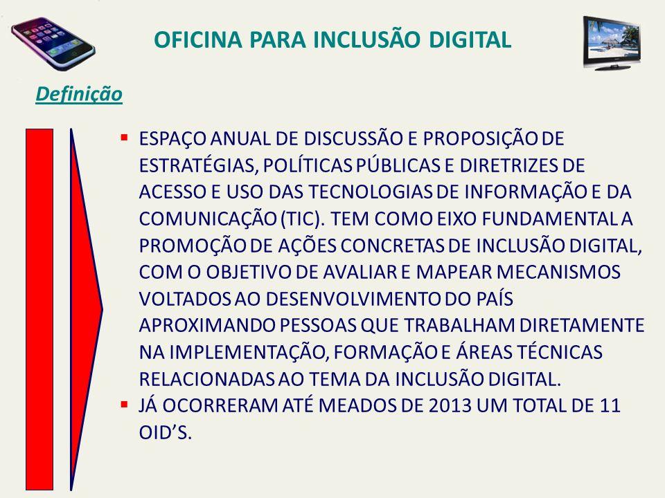 OFICINA PARA INCLUSÃO DIGITAL Definição ESPAÇO ANUAL DE DISCUSSÃO E PROPOSIÇÃO DE ESTRATÉGIAS, POLÍTICAS PÚBLICAS E DIRETRIZES DE ACESSO E USO DAS TEC