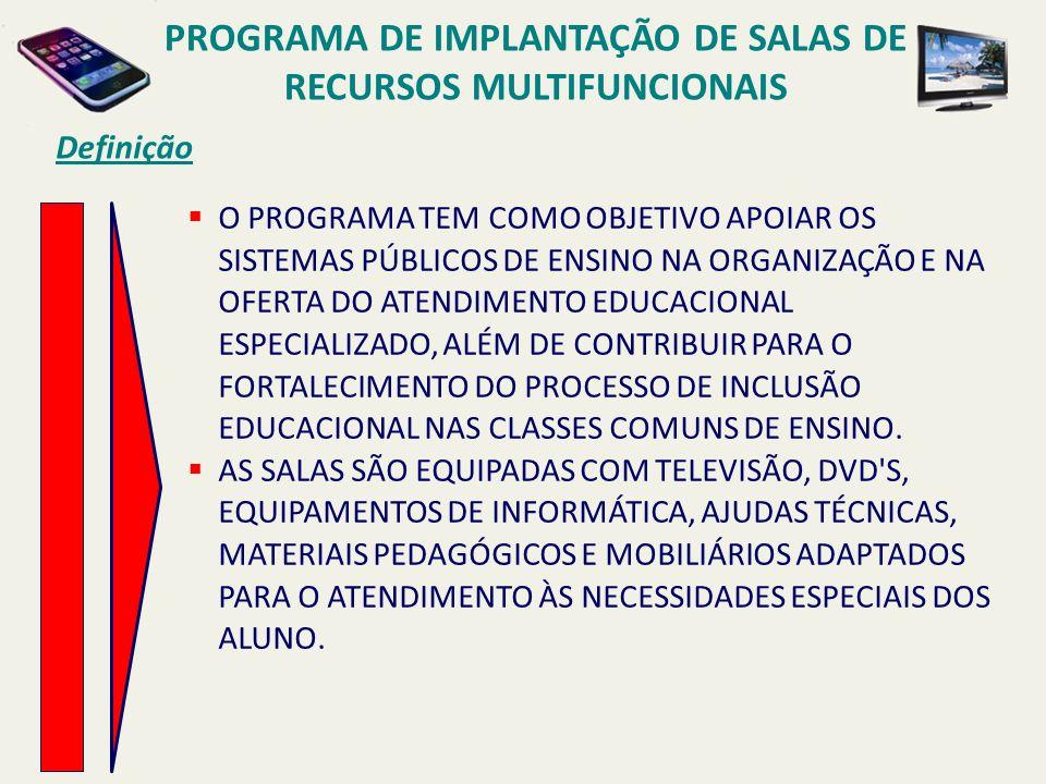 PROGRAMA DE IMPLANTAÇÃO DE SALAS DE RECURSOS MULTIFUNCIONAIS Definição O PROGRAMA TEM COMO OBJETIVO APOIAR OS SISTEMAS PÚBLICOS DE ENSINO NA ORGANIZAÇ