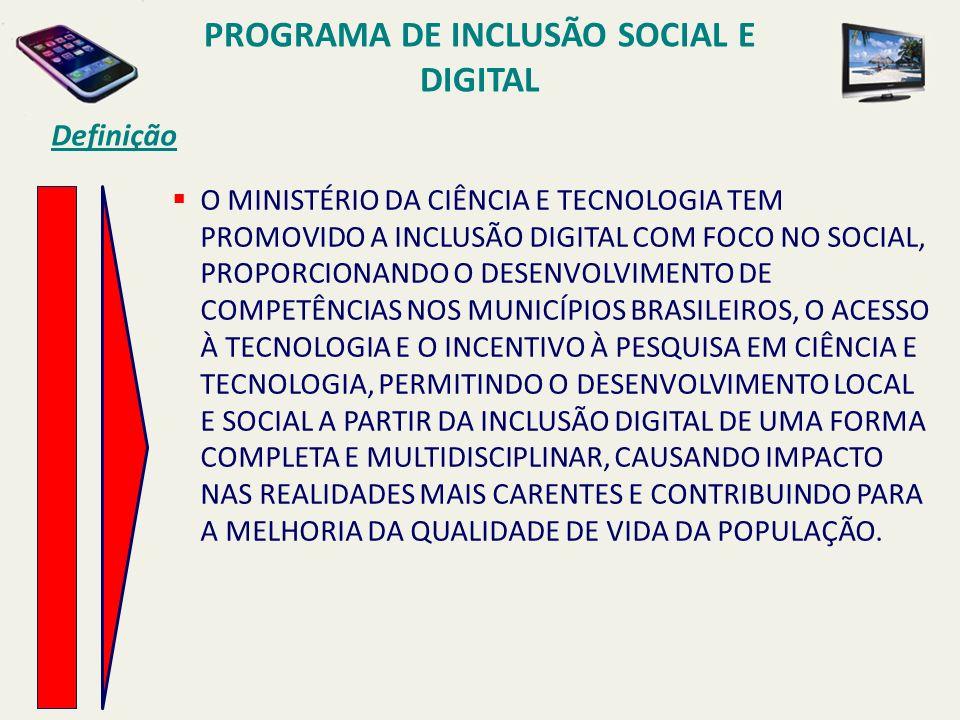 PROGRAMA DE INCLUSÃO SOCIAL E DIGITAL Definição O MINISTÉRIO DA CIÊNCIA E TECNOLOGIA TEM PROMOVIDO A INCLUSÃO DIGITAL COM FOCO NO SOCIAL, PROPORCIONAN