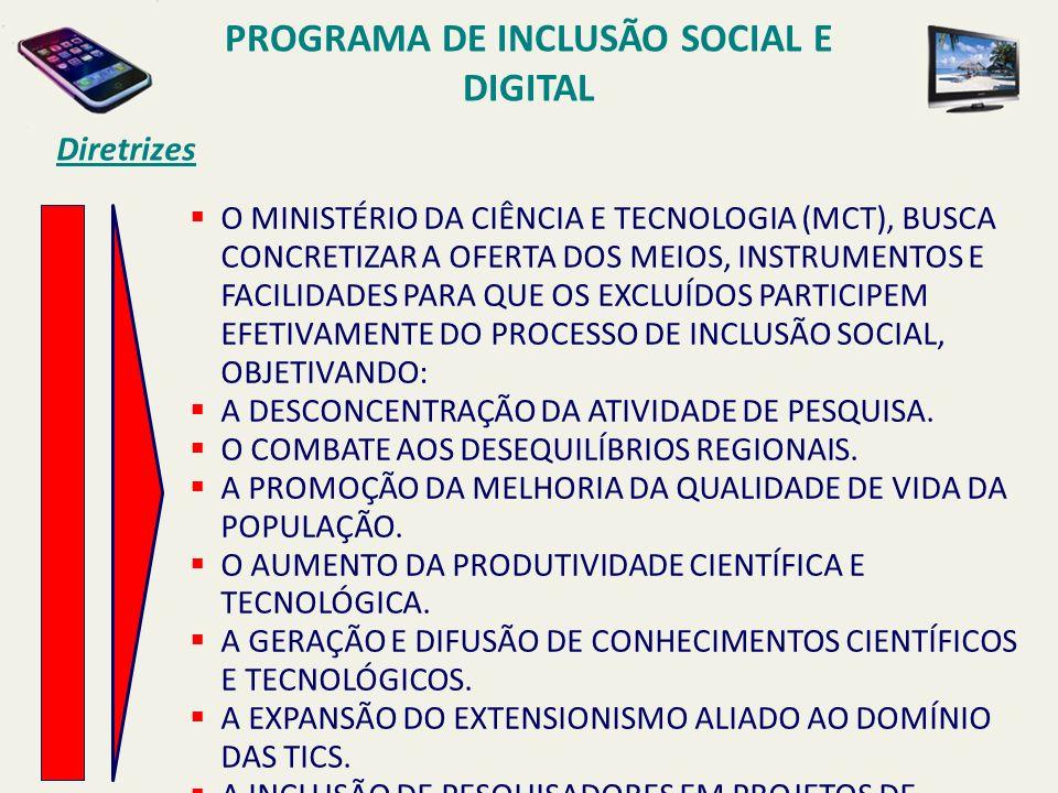 PROGRAMA DE INCLUSÃO SOCIAL E DIGITAL Diretrizes O MINISTÉRIO DA CIÊNCIA E TECNOLOGIA (MCT), BUSCA CONCRETIZAR A OFERTA DOS MEIOS, INSTRUMENTOS E FACI