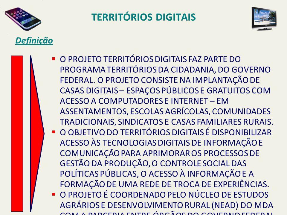 TERRITÓRIOS DIGITAIS Definição O PROJETO TERRITÓRIOS DIGITAIS FAZ PARTE DO PROGRAMA TERRITÓRIOS DA CIDADANIA, DO GOVERNO FEDERAL. O PROJETO CONSISTE N
