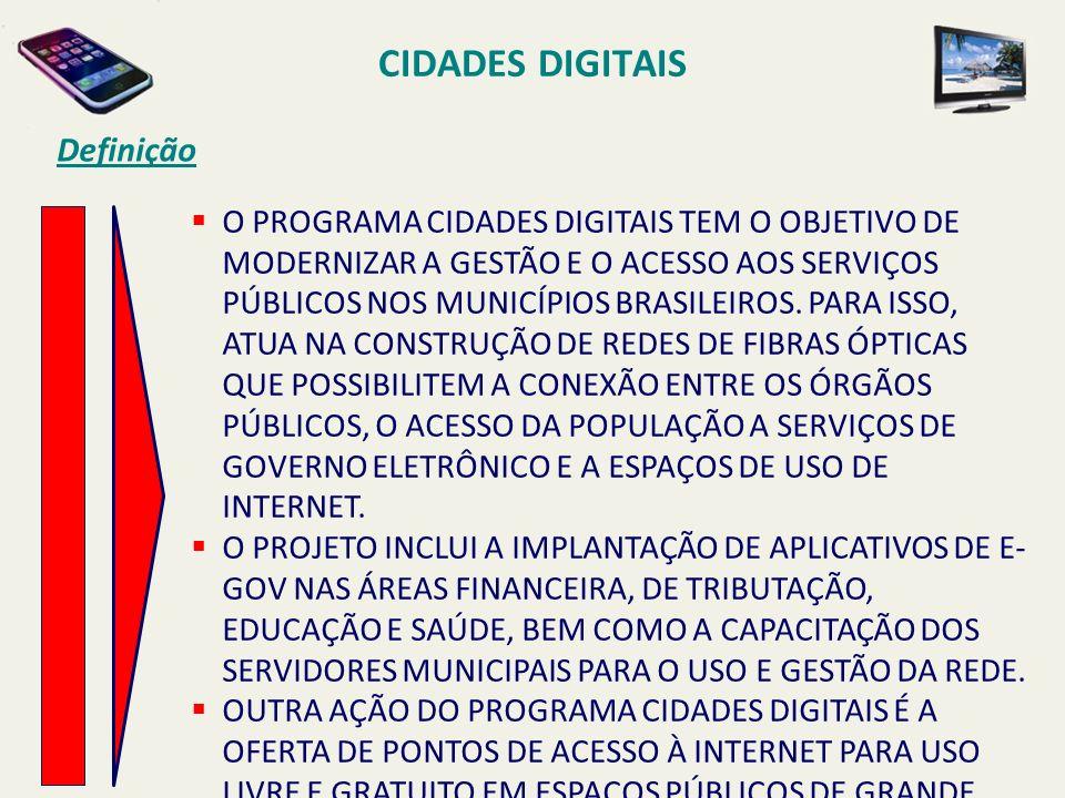 CIDADES DIGITAIS Definição O PROGRAMA CIDADES DIGITAIS TEM O OBJETIVO DE MODERNIZAR A GESTÃO E O ACESSO AOS SERVIÇOS PÚBLICOS NOS MUNICÍPIOS BRASILEIR