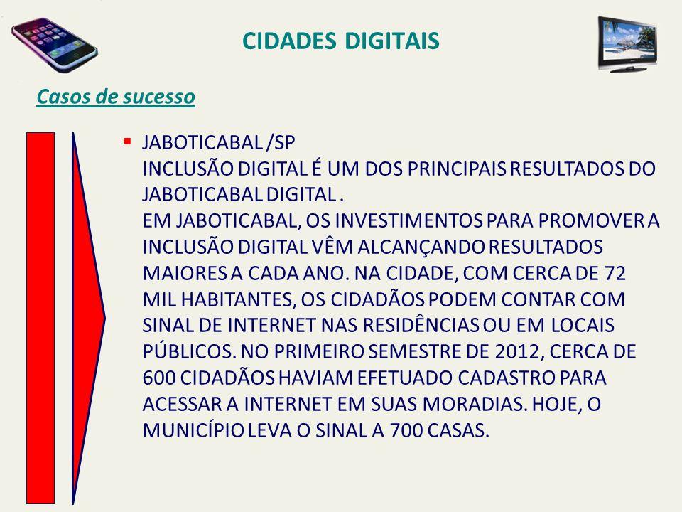 CIDADES DIGITAIS Casos de sucesso JABOTICABAL /SP INCLUSÃO DIGITAL É UM DOS PRINCIPAIS RESULTADOS DO JABOTICABAL DIGITAL. EM JABOTICABAL, OS INVESTIME