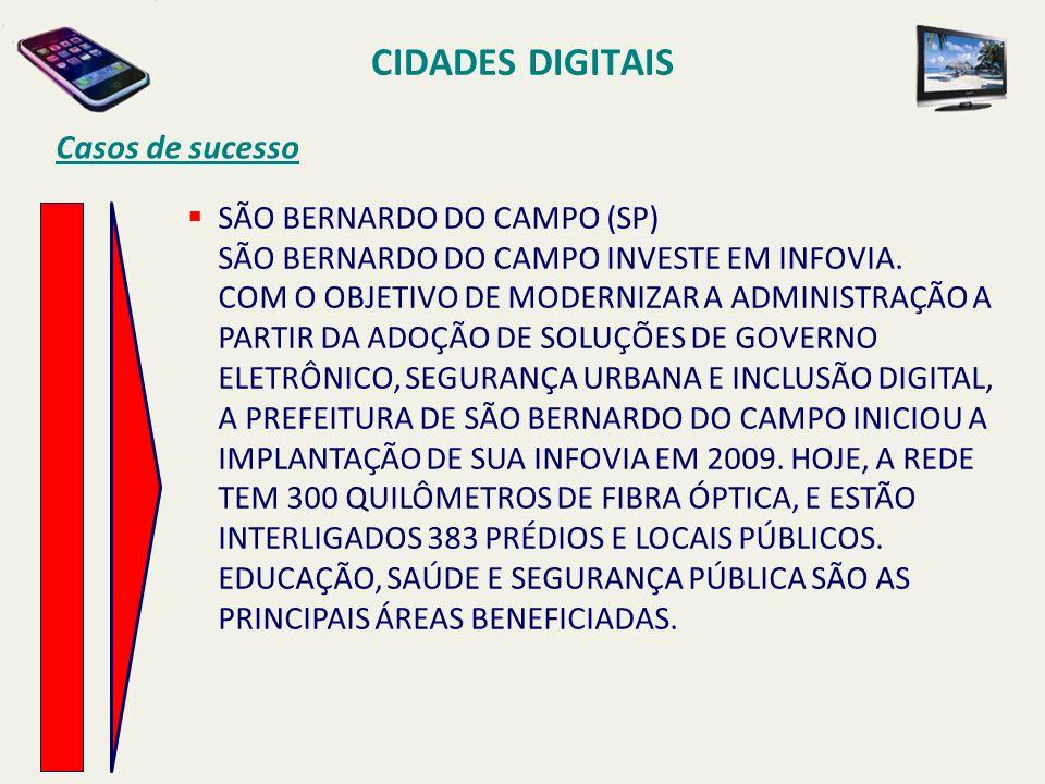 CIDADES DIGITAIS Casos de sucesso SÃO BERNARDO DO CAMPO (SP) SÃO BERNARDO DO CAMPO INVESTE EM INFOVIA. COM O OBJETIVO DE MODERNIZAR A ADMINISTRAÇÃO A