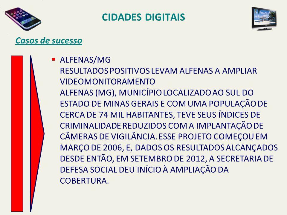 CIDADES DIGITAIS Casos de sucesso ALFENAS/MG RESULTADOS POSITIVOS LEVAM ALFENAS A AMPLIAR VIDEOMONITORAMENTO ALFENAS (MG), MUNICÍPIO LOCALIZADO AO SUL