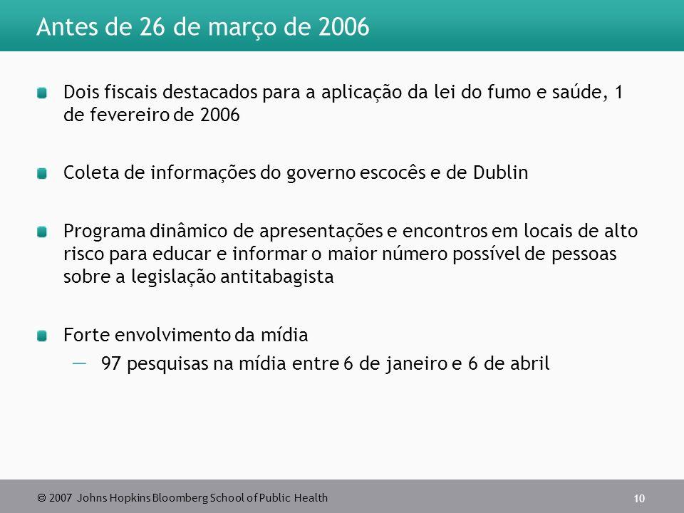 2007 Johns Hopkins Bloomberg School of Public Health 10 Antes de 26 de março de 2006 Dois fiscais destacados para a aplicação da lei do fumo e saúde,