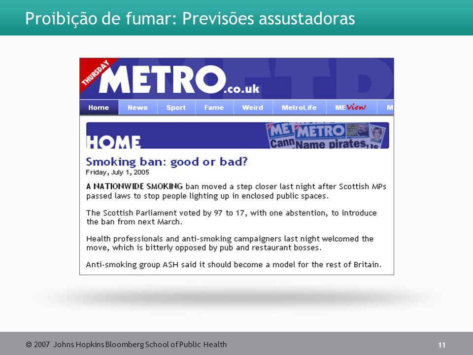 2007 Johns Hopkins Bloomberg School of Public Health 11 Proibição de fumar: Previsões assustadoras