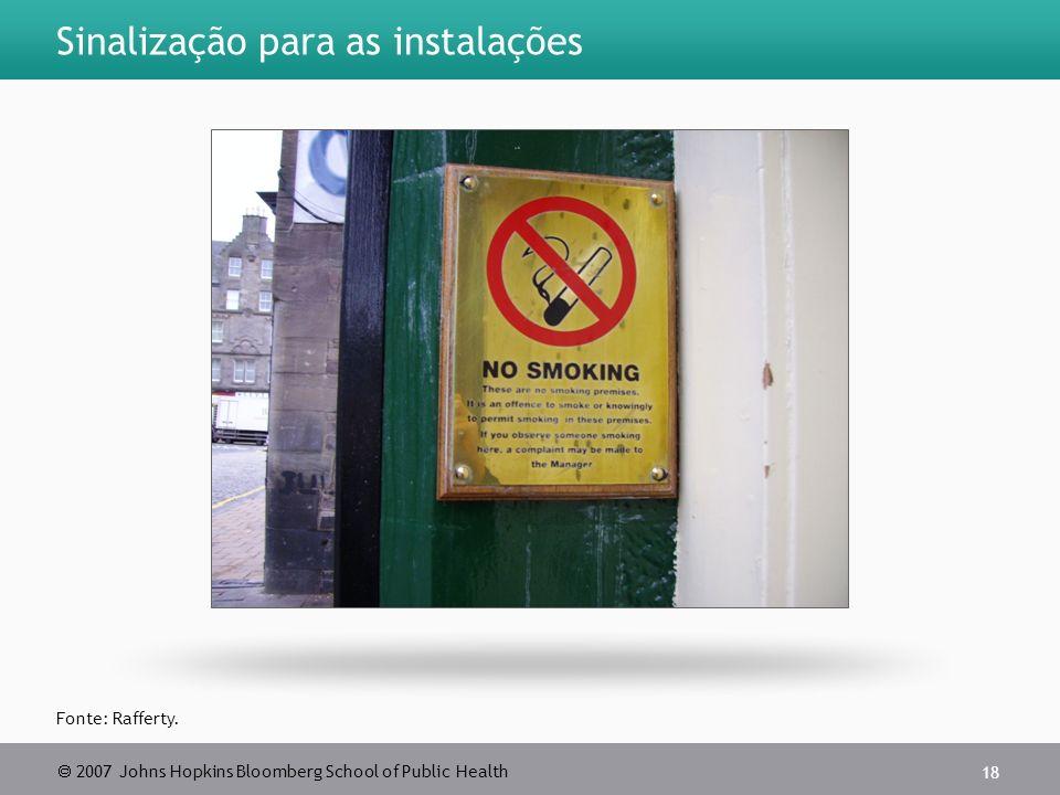 2007 Johns Hopkins Bloomberg School of Public Health 18 Sinalização para as instalações Fonte: Rafferty.