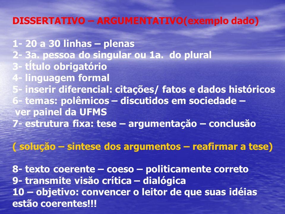 DISSERTATIVO – ARGUMENTATIVO(exemplo dado) 1- 20 a 30 linhas – plenas 2- 3a. pessoa do singular ou 1a. do plural 3- tĺtulo obrigatório 4- linguagem fo