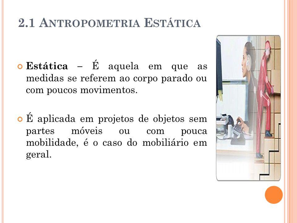Estática – É aquela em que as medidas se referem ao corpo parado ou com poucos movimentos.