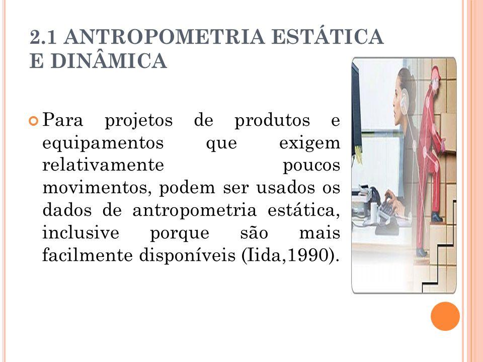 2.1 ANTROPOMETRIA ESTÁTICA E DINÂMICA Para projetos de produtos e equipamentos que exigem relativamente poucos movimentos, podem ser usados os dados de antropometria estática, inclusive porque são mais facilmente disponíveis (Iida,1990).