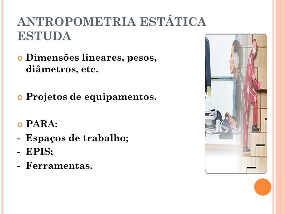 ANTROPOMETRIA ESTÁTICA ESTUDA Dimensões lineares, pesos, diâmetros, etc. Projetos de equipamentos. PARA: - Espaços de trabalho; - EPIS; - Ferramentas.