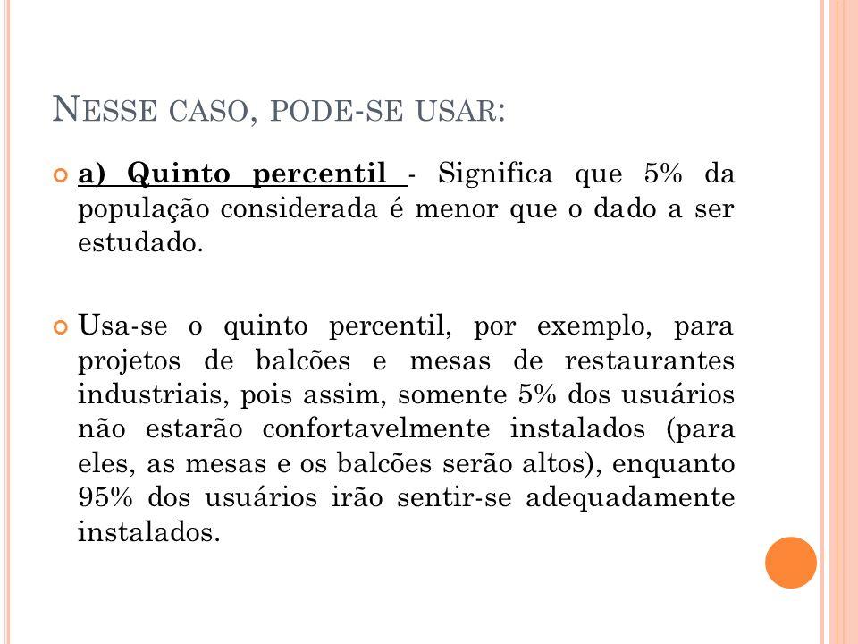N ESSE CASO, PODE - SE USAR : a) Quinto percentil - Significa que 5% da população considerada é menor que o dado a ser estudado. Usa-se o quinto perce