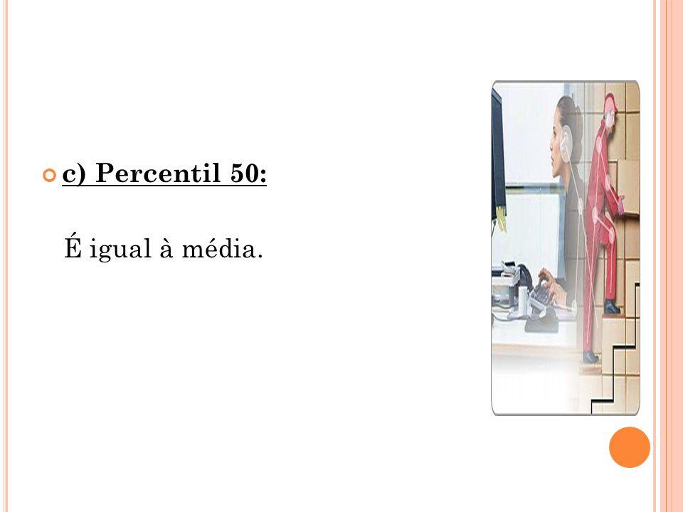 c) Percentil 50: É igual à média.