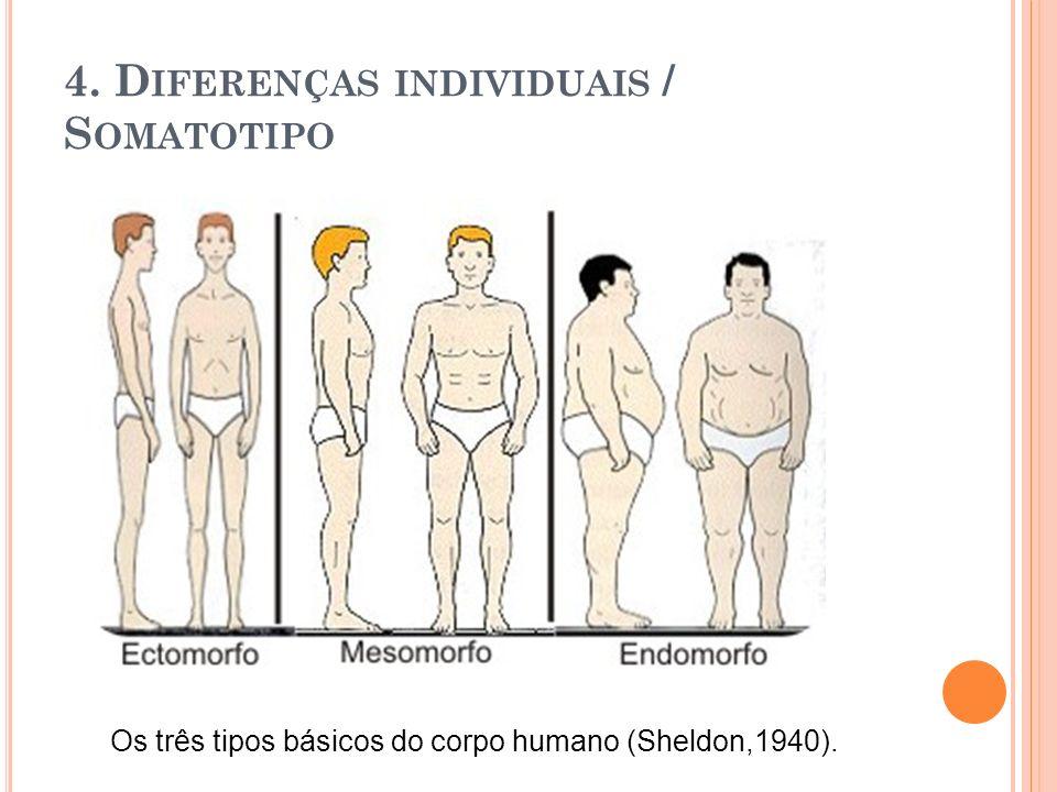 4. D IFERENÇAS INDIVIDUAIS / S OMATOTIPO Os três tipos básicos do corpo humano (Sheldon,1940).