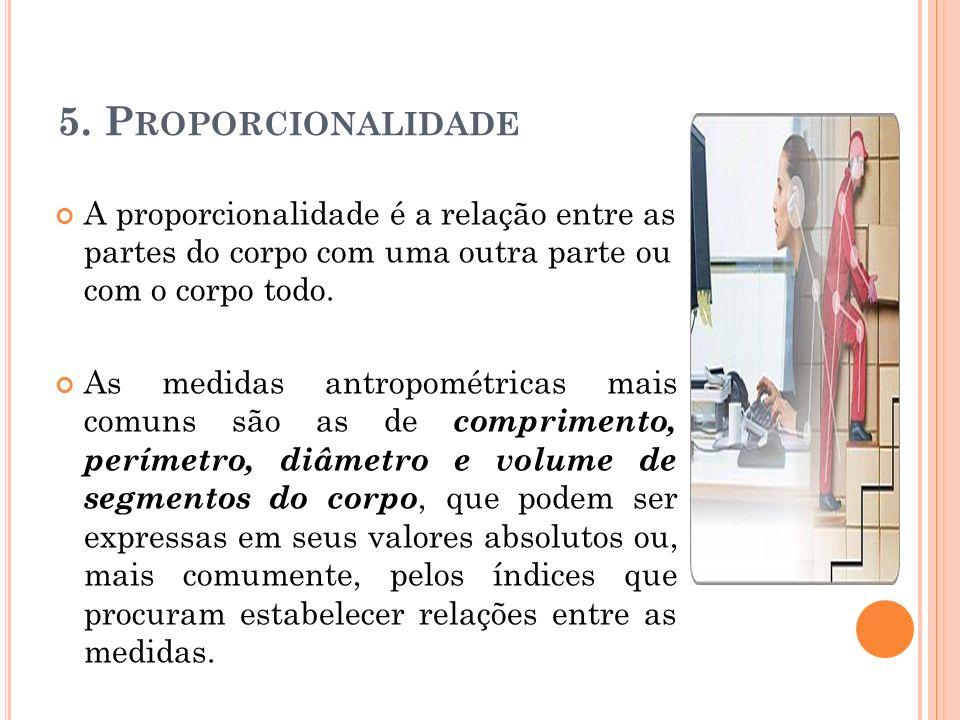 5. P ROPORCIONALIDADE A proporcionalidade é a relação entre as partes do corpo com uma outra parte ou com o corpo todo. As medidas antropométricas mai