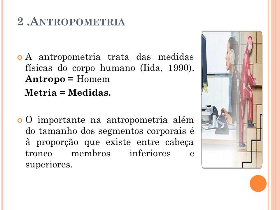2.A NTROPOMETRIA A antropometria trata das medidas físicas do corpo humano (Iida, 1990). Antropo = Homem Metria = Medidas. O importante na antropometr