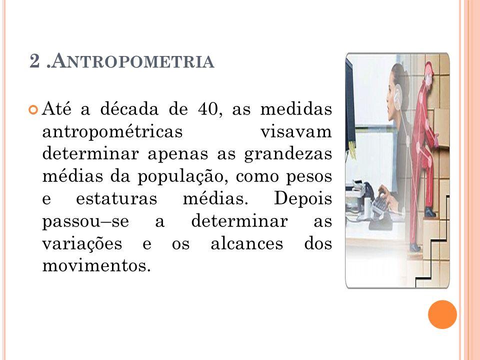 2.A NTROPOMETRIA Até a década de 40, as medidas antropométricas visavam determinar apenas as grandezas médias da população, como pesos e estaturas méd