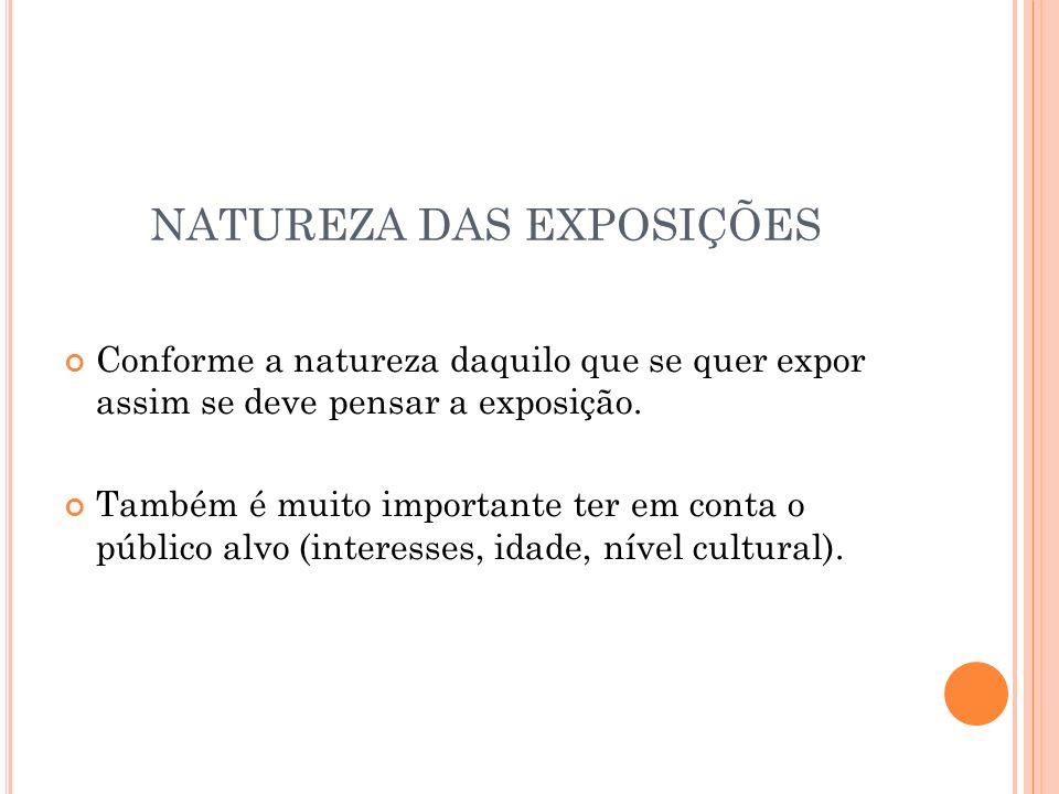 NATUREZA DAS EXPOSIÇÕES Conforme a natureza daquilo que se quer expor assim se deve pensar a exposição.