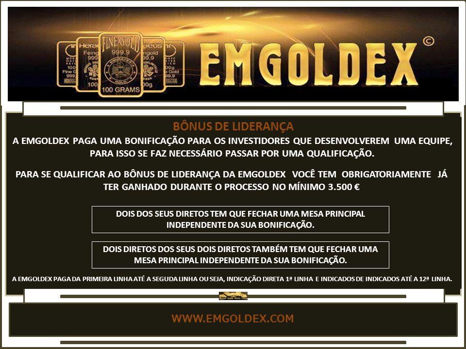 WWW.EMGOLDEX.COM QUALIFICAÇÃO PARA O BÔNUS DE LIDERANÇA.