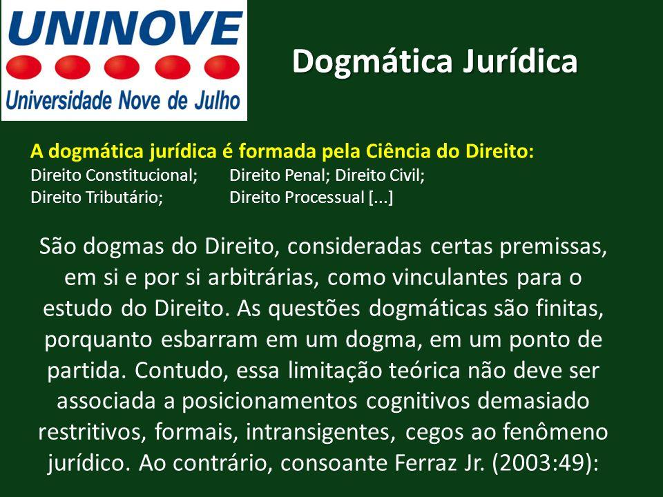 A dogmática jurídica é formada pela Ciência do Direito: Direito Constitucional; Direito Penal; Direito Civil; Direito Tributário; Direito Processual [