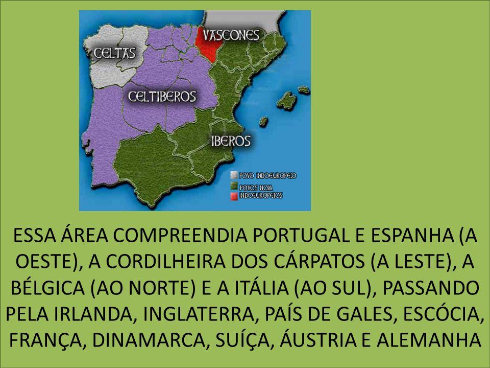 ESSA ÁREA COMPREENDIA PORTUGAL E ESPANHA (A OESTE), A CORDILHEIRA DOS CÁRPATOS (A LESTE), A BÉLGICA (AO NORTE) E A ITÁLIA (AO SUL), PASSANDO PELA IRLA