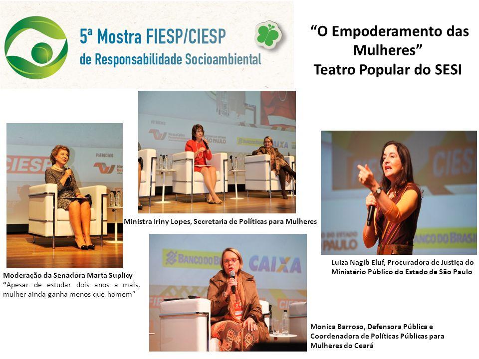 O Empoderamento das Mulheres Teatro Popular do SESI Moderação da Senadora Marta Suplicy Apesar de estudar dois anos a mais, mulher ainda ganha menos q