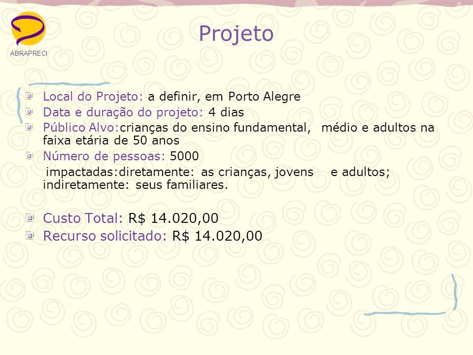 Projeto Local do Projeto: a definir, em Porto Alegre Data e duração do projeto: 4 dias Público Alvo:crianças do ensino fundamental, médio e adultos na