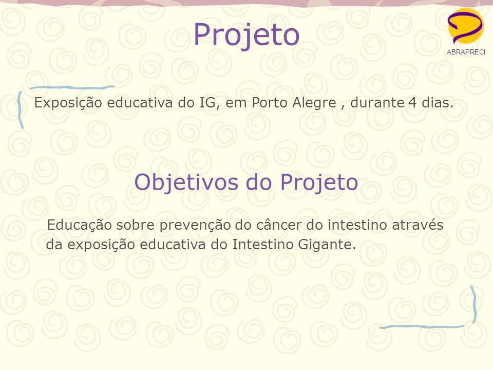 Projeto Educação sobre prevenção do câncer do intestino através da exposição educativa do Intestino Gigante. ABRAPRECI Objetivos do Projeto Exposição