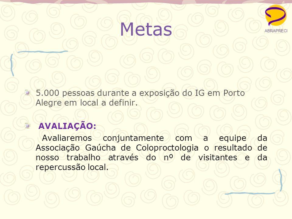 Metas 5.000 pessoas durante a exposição do IG em Porto Alegre em local a definir. AVALIAÇÃO: Avaliaremos conjuntamente com a equipe da Associação Gaúc