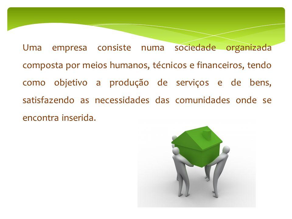 Departamento Administrativo ( gestão empresarial) Área Financeira (gestão financeira) Área Comercial (compras / vendas / tesouraria) Departamento Recursos Humanos (gestão pessoal) Departamento de Manutenção (serviços)