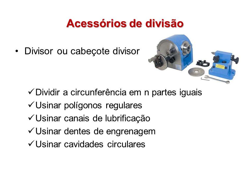 Acessórios de divisão Divisor ou cabeçote divisor Dividir a circunferência em n partes iguais Usinar polígonos regulares Usinar canais de lubrificação