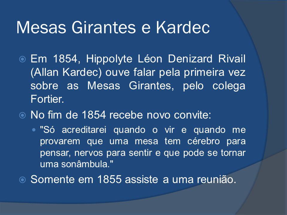 Mesas Girantes e Kardec Em 1854, Hippolyte Léon Denizard Rivail (Allan Kardec) ouve falar pela primeira vez sobre as Mesas Girantes, pelo colega Forti