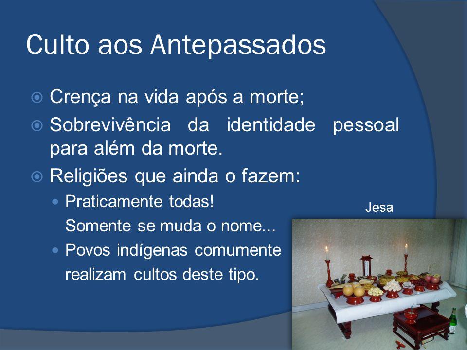 Culto aos Antepassados Crença na vida após a morte; Sobrevivência da identidade pessoal para além da morte. Religiões que ainda o fazem: Praticamente